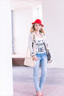 Ivory-romwe-bag-light-blue-forever21-jeans-red-h-m-hat-red-guess-heels