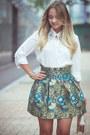 White-goodnight-macaroon-blouse-turquoise-blue-oasap-skirt