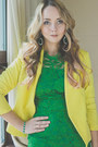 Green-oasap-dress-yellow-vivilli-blazer-green-persunmall-earrings
