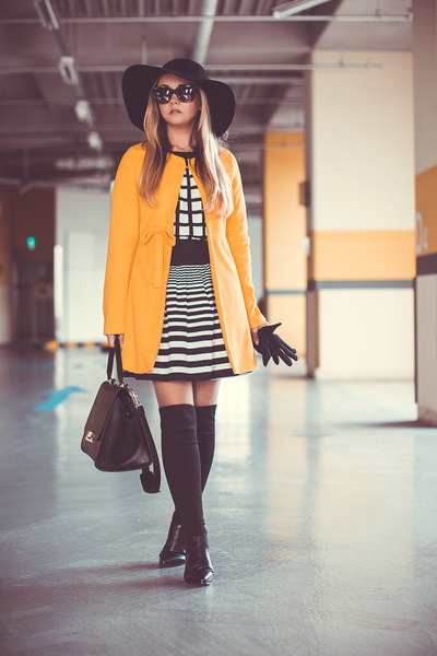 yellow Sheinside coat - black PERSUNMALL boots - black OASAP hat