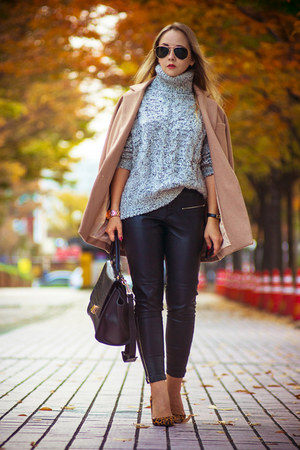 silver OASAP sweater - neutral Choies coat - black OASAP bag