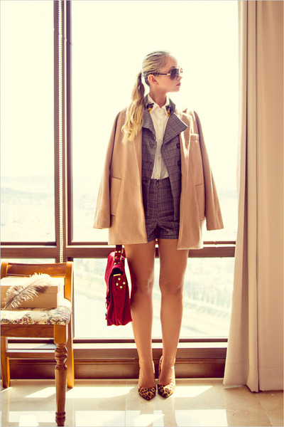 ruby red Udobuy bag - nude Choies coat - heather gray OASAP suit