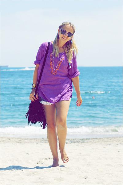 thailand top - Miss Nabi bag - DIY shorts - ray-ban sunglasses - casio watch