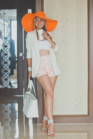 white Chicwish blazer - light orange echo hat - white kate spade bag