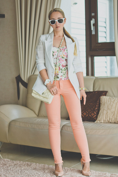 white ray-ban sunglasses - salmon kpopsicle jeans - white On sixth cloud top