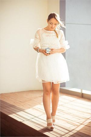 white Udobuy dress - white Chanel ring - eggshell asos pumps