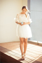 white Udobuy dress - white Chanel ring - eggshell asos pumps