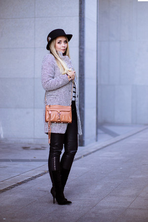 black Choies sweater - white Choies coat - tawny Rebecca Minkoff bag