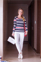 white Miss Nabi loafers - red Miss Nabi bag - white indressme pants