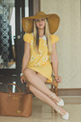 Yellow-oasap-dress-brown-miss-nabi-hat-brown-michael-kors-bag