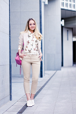 white Miss Nabi flats - ivory Forever 21 blazer - bubble gum balenciaga bag