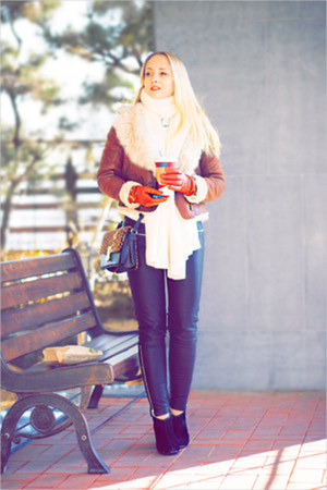 dark brown jacket - white OASAP sweater - silver iphone case Iconemesis purse