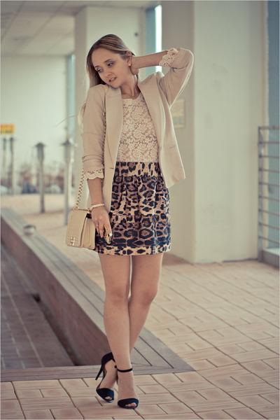 brown Udobuy skirt - eggshell romwe bag - eggshell nowIStyle top