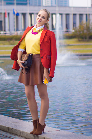 carrot orange Dday blazer - brick red Miss Nabi skirt