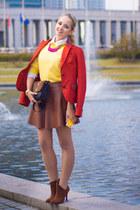 carrot orange Dday blazer - brick red Miss Nabi skirt