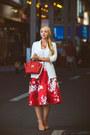 White-chicwish-blazer-nude-sam-edelman-flats-red-choies-skirt