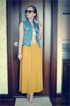 mustard Miss Nabi skirt - black ray-ban sunglasses - sky blue Miss Nabi vest