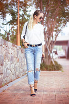 sky blue 8 seconds jeans - black Chicwish bag - cream OASAP ring