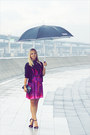 Purple-miss-nabi-dress-black-zara-heels-black-forever-21-cardigan