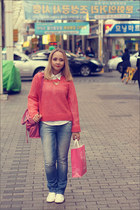 hot pink Forever 21 sweater - light blue Levis jeans - bubble gum balenciaga bag