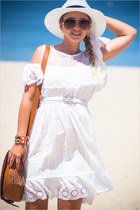white Chicwish dress - tawny OASAP bag - tawny Celine sunglasses
