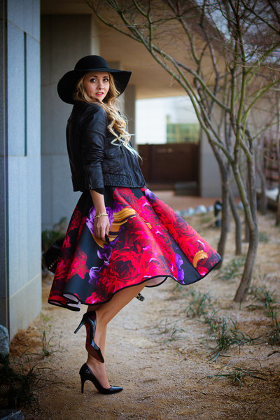 ruby red Choies skirt - black OASAP hat - black Armani Exchange jacket