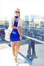 Blue-korean-dress-beige-forever-21-jacket-beige-miss-nabi-bag