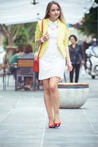 light yellow vivilli blazer - white GoodNight Macaroon dress - red Miss Nabi bag