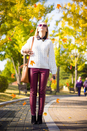 white OASAP sweater - burnt orange Miss Nabi bag - purple Forever 21 sunglasses