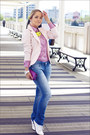 White-miss-nabi-shoes-blue-levis-jeans-light-pink-miss-nabi-jacket
