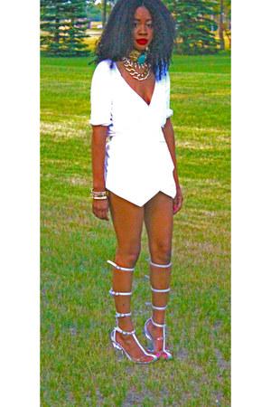 White Asymmetric Skort shorts - Cross Over Blouse top