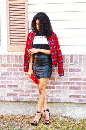 Red Grid Bomber Jacket jacket - Choies Ballinciaga Tee top - pu Choies skirt