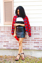 Red Grid Bomber Jacket jacket - Choies Ballinciaga Tee top - pu Choies skirt