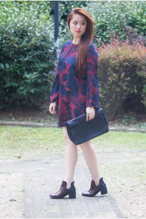 camo Zara dress - leather Zara boots - clutch Zara bag