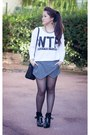 Black-leather-zara-boots-blue-leather-michael-kors-bag-gray-wool-zara-shorts