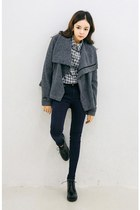 black yubsshop shoes - navy yubsshop jeans - heather gray yubsshop jacket
