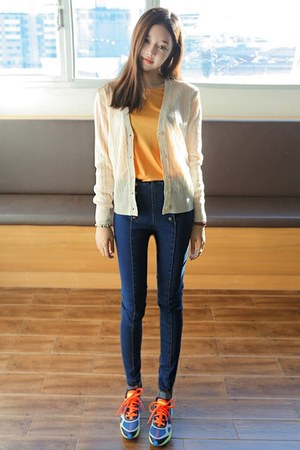 navy yubsshop jeans - light orange yubsshop top - ivory yubsshop cardigan