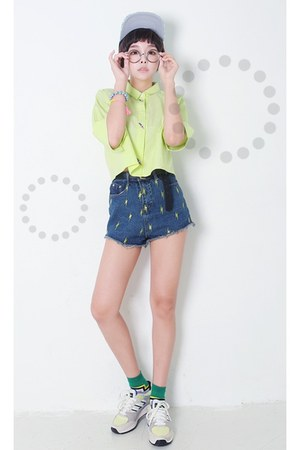 yubsshop belt - yubsshop hat - lime green yubsshop shirt - navy yubsshop shorts