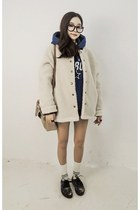 black Vans sneakers - eggshell yubsshop jacket - yubsshop bag - yubsshop shorts