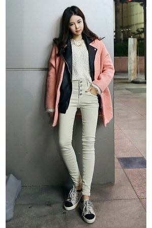 black yubsshop jacket - salmon yubsshop coat - ivory yubsshop sweater