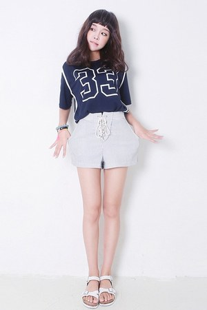 white yubsshop shorts - navy yubsshop top - yubsshop bracelet
