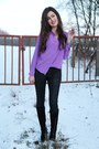 Black-hallhuber-jeans-deep-purple-closed-blouse
