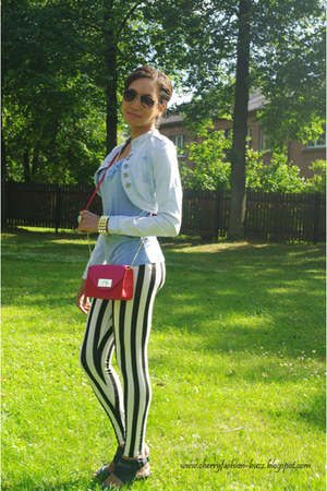 black leggings - red Dorothy Perkins bag - light blue top