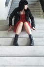 Black-biker-dolce-vita-boots-red-ruffled-fire-and-ice-dress-black-leather-jo