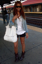 brown Zara boots - blue Old Navy jacket - white Bebe shirt