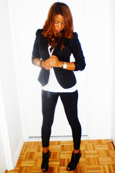 black Nyla shoes - black American Apparel leggings - black Forever 21 blazer