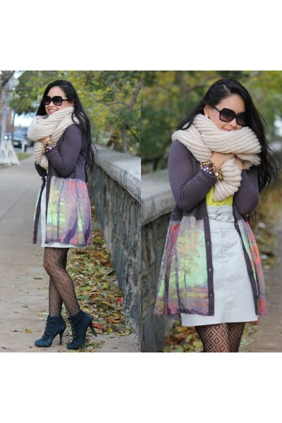 Anthropology cardigan - Guess boots - Club Monaco skirt