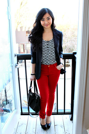 red pants - black Forever 21 blazer - black coach bag - zig zag H&M top