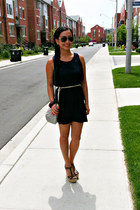 navy Forever 21 dress - heather gray H&M bag - ivory H&M belt
