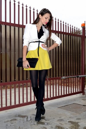 white Zara blazer - black Julien Macdonald bag - yellow asos skirt